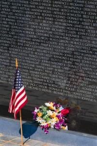 Flag and Flowers at the Vietnam Veterans Memorial